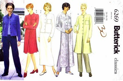 (Butterick 6269 Sewing Pattern Misses Jacket Duster Skirt Pants Size 14 - 18 - Bust 36 - 40)