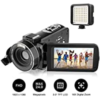 "Camcorders, AiTechny Digital Video Camcorder Full HD 1080P 24.0 Megapixel Camera Camcorders with External LED Supplement Light, 3.0"" LCD 270 Degree Rotatable Mini DV with 2 Rechargeable Batteries"