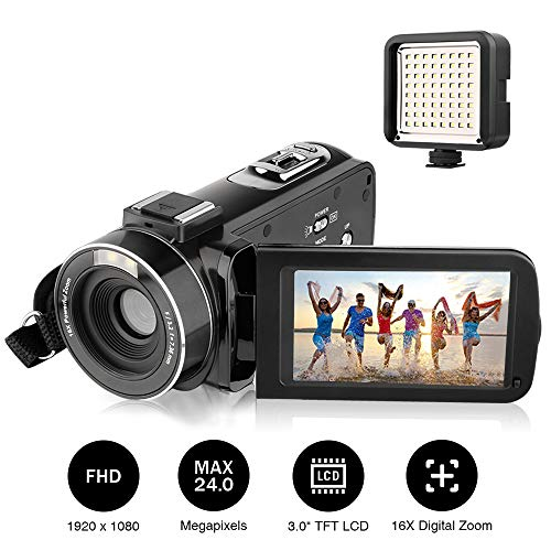"""Camcorders, AiTechny Digital Video Camcorder Full HD 1080P 24.0 Megapixel Camera Camcorders with External LED Supplement Light, 3.0"""" LCD 270 Degree Rotatable Mini DV with 2 Rechargeable Batteries"""