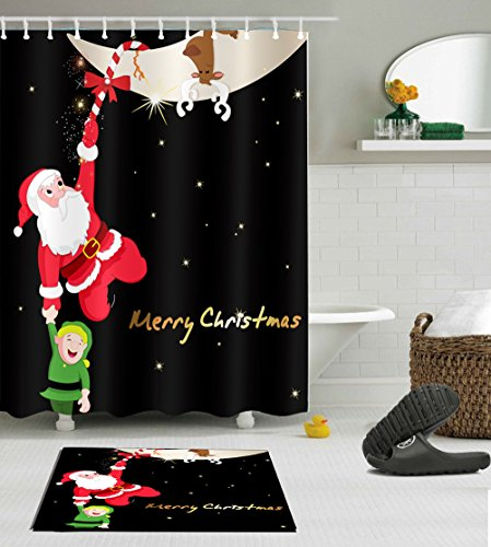 Merry Christmas Decoration Polyester Shower Curtain Liner Fabric 3D Digital Printing 60x72