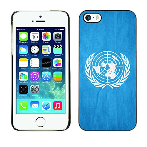 Omega Case PC Polycarbonate Cas Coque Drapeau - Apple iPhone 5 / 5S ( United Nationas Grunge Flag )