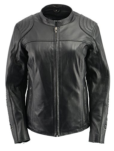 M-BOSS APPAREL-Women Leather Scuba Jacket w/Full Armor & Wing ()