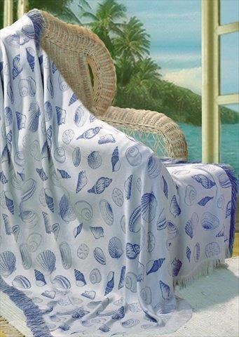 Seashells Light Blue Rayon Throw 50x60 inches
