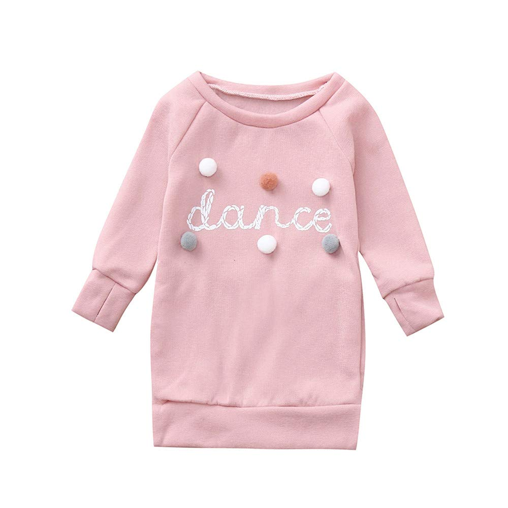 Zerototens Girls Sweatshirt Dress,0-5 Years Old Toddler Kids Girls Long Sleeve O Neck Letter Plush Ball Pullover Sweatshirt Baby Blouse Tops Children Casual Outfit Clothes