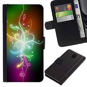 All Phone Most Case / Oferta Especial Cáscara Funda de cuero Monedero Cubierta de proteccion Caso / Wallet Case for Samsung Galaxy Note 3 III // Abstract Color Flowers