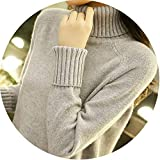 Long Sleeve Knitted Turtleneck Sweaters Casual Warm Sweaters for Winter Jumper,Gray,S