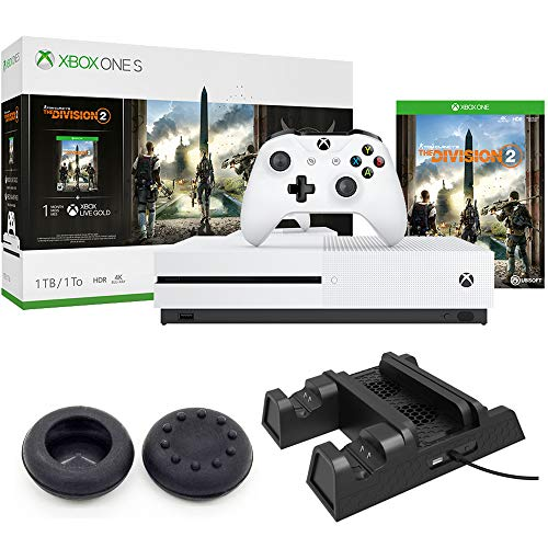 Microsoft Xbox One S Bundle 1 TB Console with Tom Clancy's The Division 2 (234-00872) + Xbox 3-in-1 Vertical Stand Cooling Fan with Dual Controller Charging Station & Controller Joystick Thumb Grips