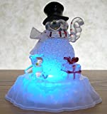 Snowman Figurine - LED Acrylic Snowman Statue with Color Changing Lights - Light Up Snowman Decoration - Christmas Snowman
