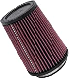 K&N RU-2590 Universal Clamp-On Air Filter: Round Tapered; 4 in (102 mm) Flange ID; 7 in (178 mm) Height; 5.375 in (137 mm) Base; 4.375 in (111 mm) Top