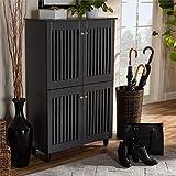 Multi-Layer Circulation Slip-on Chest Wood Dark Gray Finish 6 Bed Open Slats 4 Door Display Top Wooden Entryway Shoe Cabinet