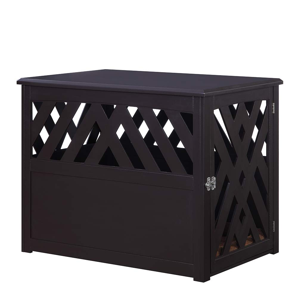 unipaws Wooden Pet Crate End Table with Pet Bed, Dog Crate Kennels, Home Deco Furniture Indoor Use, Modern Design Dog House by unipaws