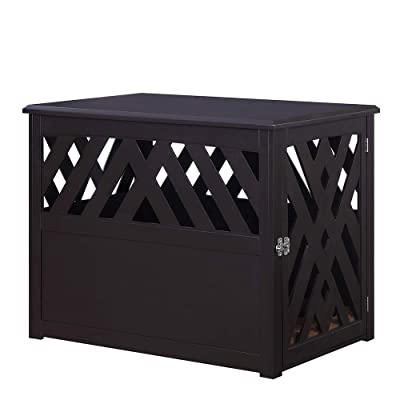 unipaws Crossed Pet Crate End Table Dog Kennel in Espresso