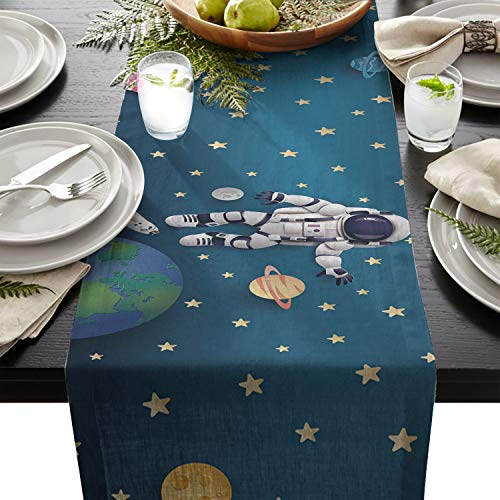 Table Runner Space Exploration Astronaut Space Odyssey Non-Slip Heat Resistant Modern Table Top Cover Family Dinner Office Kitchen Table 14X72In
