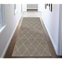 Ottomanson Jardin Collection Contemporary Trellis Design Indoor/Outdoor Jute Backing Synthetic Sisal Runner Rug, 2'7 x 7'0, Grey