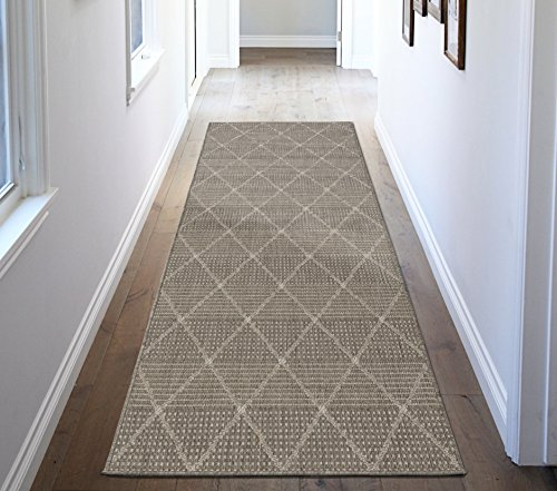 Ottomanson Jardin Collection Contemporary Trellis Design Indoor/Outdoor Jute Backing Area Synthetic Sisal Rug