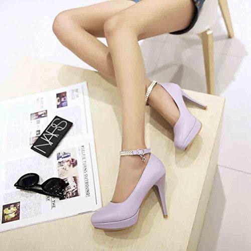 Easemax Womens Graceful Round Toe Low Cut Buckled Ankle Strap Platform High Stiletto Heel Pumps Shoes Purple J89RXYLK