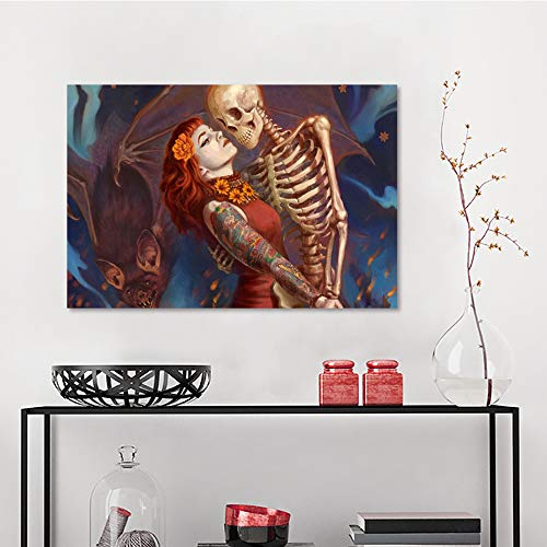 Allbrit Wall Decal, Horror Dead Tattoos bat Halloween Skeleton Dance Girl Woman Fantasy, Bedroom Wall Art W23.6 x L31.5 Inch
