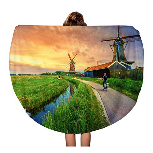 Semtomn 60 Inches Round Beach Towel Blanket Traditional Village Dutch Windmills and River at Sunset Holland Travel Circle Circular Towels Mat Tapestry Beach Throw
