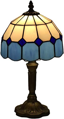 Tiffany Style Lamps Blue Small Table Desk Light 15 Inches Tall Stained Glass 8 Inches Wide Lamp Shade Vintage Antique Accent Lamp