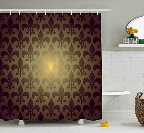 - Ambesonne Fleur De Lis Shower Curtain, Royal Lily Flower Inspired Floral Baroque Style Dark Pattern Modern Style Artwork, Cloth Fabric Bathroom Decor Set with Hooks, 70