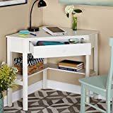 This classically styled desk utilizes a small space for a big impact, with stylish under-desk shelving and a drawer to hide clutter. Simple Living Antique White Wood Corner Computer Desk Simple Living