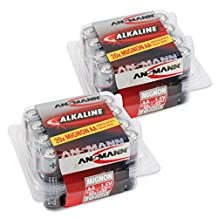 ANSMANN AA Alkaline Batteries (LR6) longlife with high capacity for clocks, radios, remote controls, telephones, etc. (Pack of 40)