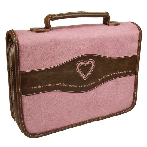 Suede-Look Pink Bible / Book Cover w/Heart Cut-out - 1 Corinthians 13:13 (Large)