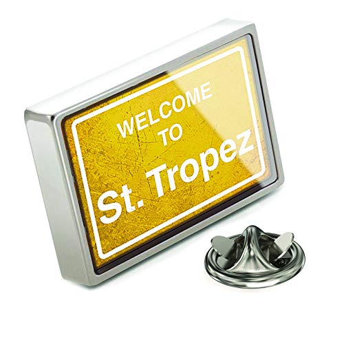NEONBLOND Lapel Pin Yellow Road Sign Welcome to St. Tropez