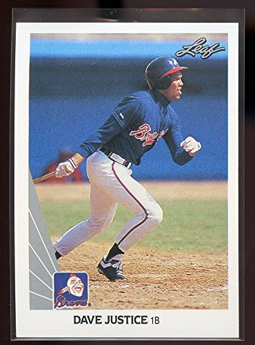 (1990 leaf #297 DAVE JUSTICE atlanta braves ROOKIE card - Mint Condition Ships in New Holder )