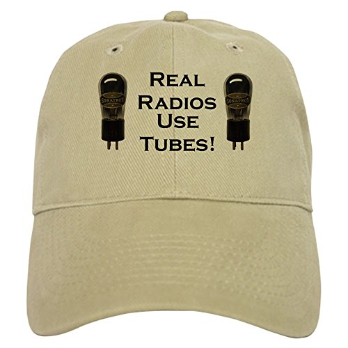 CafePress Real Radios Use Tubes! Baseball Cap with Adjustable Closure, Unique Printed Baseball Hat Khaki