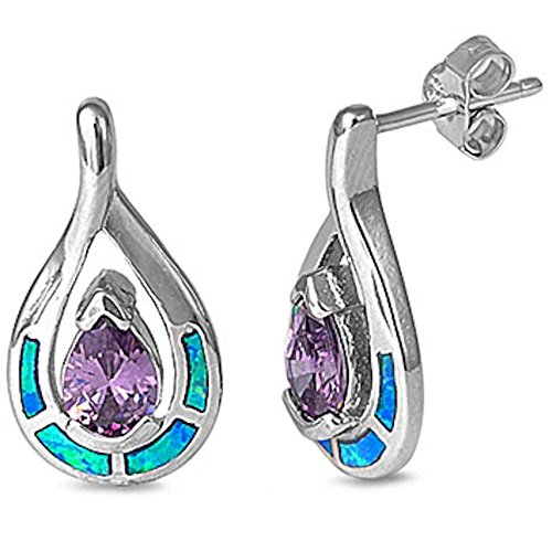 Faceted Amethyst & Lab Created Blue Fire Opal .925 Sterling Silver Earrings