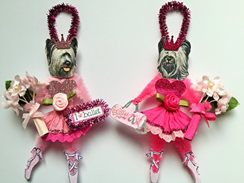 Skye Terrier BALLERINA ORNAMENTS Ballet Vintage Style Chenille Ornaments Set of 2