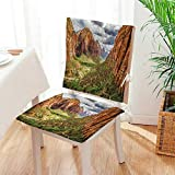 Mikihome 2 Piece Set Chair Pad Utah Plateau Mojave Desert Southwest Erosion Navajo Artprint Brown Green Soft Seat Comfortable,Living Room Mat:W17 x H17/Backrest:W17 x H36