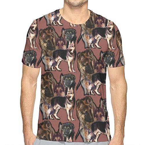 Men's Creative 3D Print German Shepherd Shirt, Short Sleeve Crewneck Undershirt Lightweight Comfort Daily Wear for Holiday Yoga Golf, Fast Dry/Sweatproof