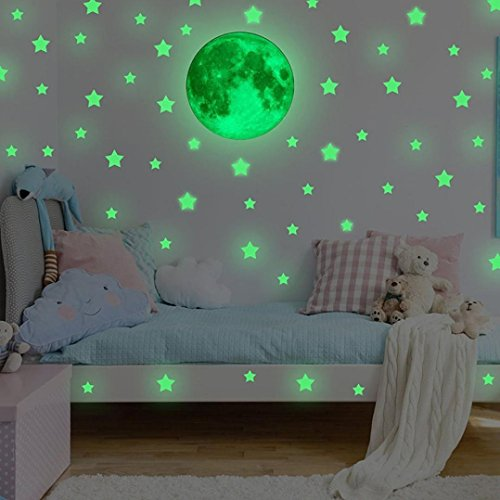 Neartime Kids Removable Moon Stars Glow In The Dark Sticker Night Luminous Room Wall Decal Stickers (Big star:3.33.3cm;small star:22cm;moon:30cm, Green)