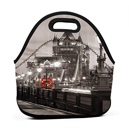 Convenient Lunch Box Tote Bag House Decor,London Themed Decor Tower Bridge in the Famous City Urban Life Scenery European Picture,Taupe Grey and Red,kids bag pack with lunch bag for boys