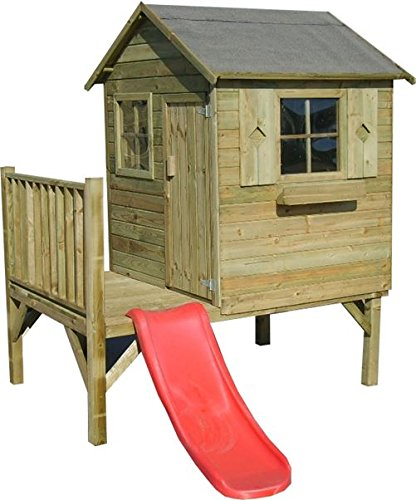 Stelzenhaus Thomas- Spielturm Holz mit Rutsche für den Garten, FSC zertifieziert/ TÜV geprüft inkl. Dachpappe (Stelzenhaus mit Rutsche)