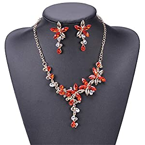 Jewelry Set for Women Alloy Fine Rhinestone Crystal Necklace Earrings Pendants Set Wedding Jewelry Gift For Bride/Valentine's Day Earrings Necklace Set (Color : Red, Size : Free size)