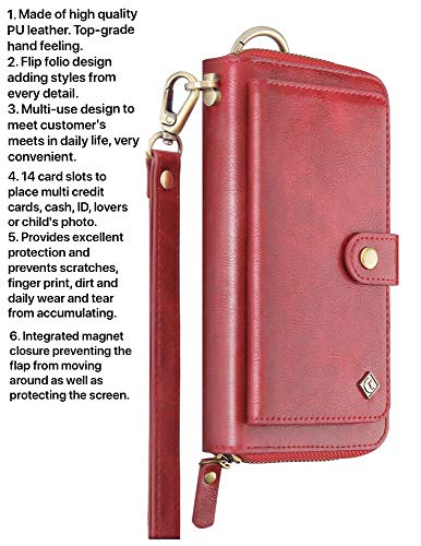 Case+Stylus, Universal Mybat Faux Leather Pouch/Purse/Clutch/Cover Fits iPhone Samsung LG Motorola, etc. Red Wallet-Small with Card Storage, Detachable Snap on & Wristlet. Fits The Following Models: (Droid Bionic Battery Cover)