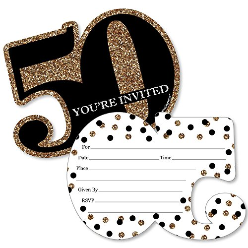 Big Dot of Happiness Adult 50th Birthday - Gold - Shaped Fill-In Invitations - Birthday Party Invitation Cards with Envelopes - Set of 12 (Birthday 50th Invitations)