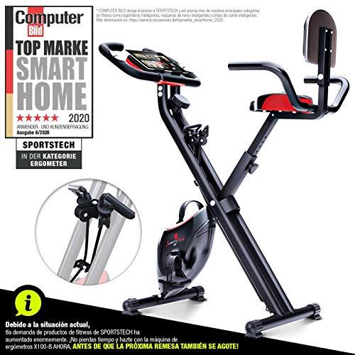 🥇 Sportstech Bicicleta estática Plegable con Respaldo X100-B con Volante de inercia de 4kg + Soporte para Tablet + 4 Niveles de Resistencia magnetica + sensores de Ritmo cardiaco