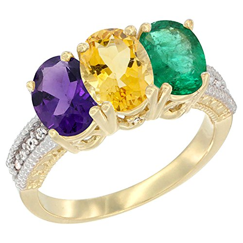 Oval Citrine Diamond Accent Ring - 10K Yellow Gold Natural Amethyst, Citrine & Emerald Ring 3-Stone Oval 7x5 mm Diamond Accent, size 7