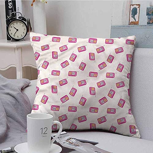 Fbdace Cushion Cases Throw Pillowcases Radio Vintage Device with Antenna Super Soft and Luxury, Hidden Zipper Design 16 X 16 Inch ()