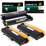 3-Pack LINKYO Replacement Toner and Drum Set for Brother TN450 TN420 DR420 (2 High Yield Black Toner, 1 High Yield Black Drum)