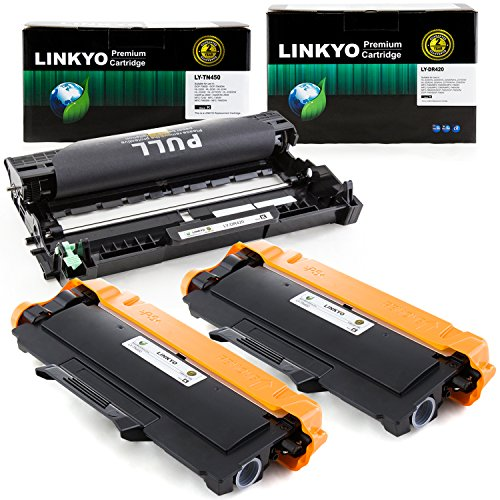 Yield Drum Unit (3-Pack LINKYO Replacement Toner and Drum Set for Brother TN450 TN420 DR420 (2 High Yield Black Toner, 1 High Yield Black Drum))