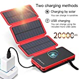 POWOBEST Solar Power Bank 20000mAh,Solar Charger,Qi Wireless Charger,Portable External Battery Pack with LED Flashlight,Cell Phone Solar Chargers,Charge 3 Devices Simultaneously 3 Solar Panels