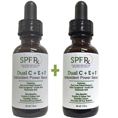 Summer Special! Dual C E Ferulic Acid Serum, an Antioxidant Power Serum with Potent Vitamin C, Alpha Tocopherol, Ferulic Acid, Hyaluronic Acid for Brighter, Calmer Tone, Smoother Texture, 1 oz - Rx Vitamin C Serum C