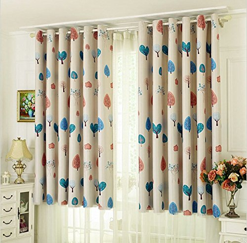 TIYANA Short Curtain Panel for Kids Bedroom Grommet Cartoon Trees Printed Thermal Insulated Semi Blackout Curtain Drapes for Bay Window Boys Girls Bedroom, 2 Panels, W39''x L63''