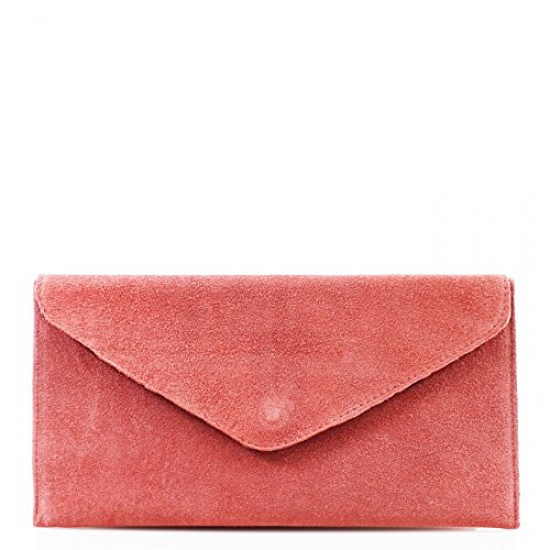 Genuine Italian Suede Leather Designer Envelope Clutch Bag Handbag Purse Crossbody Wedding Party Bag Pink