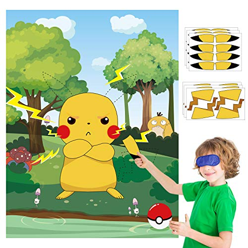 Ticiaga 36pcs Pin The Tail And Ear On The Pikachu Poster for Kids, Cartoon Pikachu Stickers Game With Blindfold, Party Favors Supplies for Wall Decoration, Birthday Celebration Decoration Props